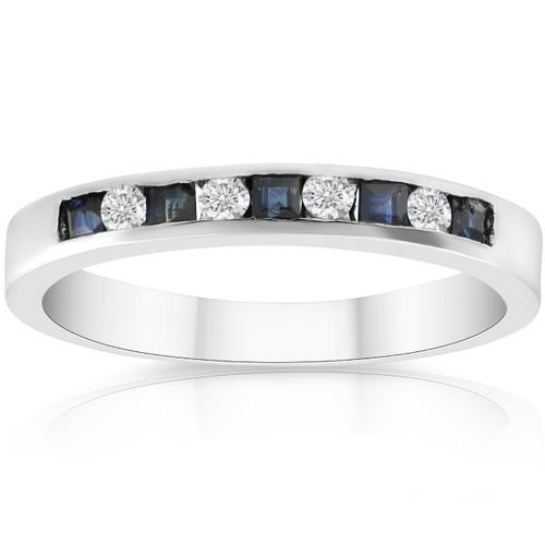 1/2ct Princess Cut Sapphire & Diamond Wedding 14K White Gold Ring (H, I1)