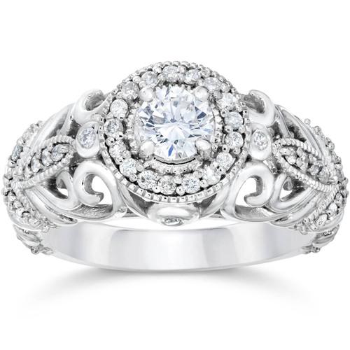 3/4ct Vintage Diamond Engagement Ring 14K White Gold (G/H, I1-I2)