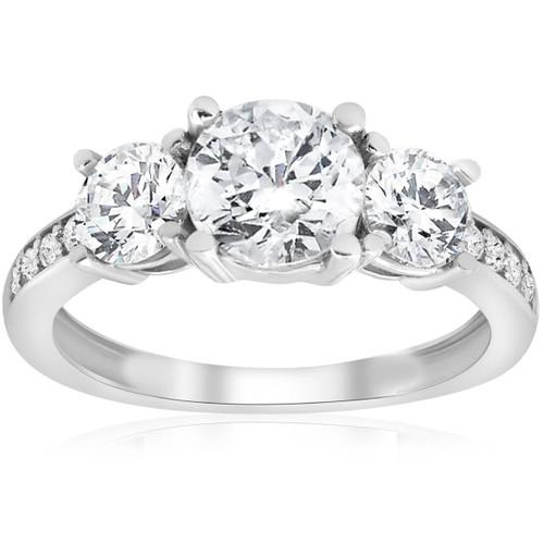 1 1/2ct Three Stone Round Diamond Engagement Ring 14K White Gold (H, SI2)