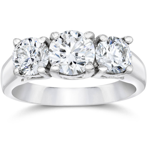 1 3/8ct Three Stone Diamond Ring 14K White Gold (F, VS)