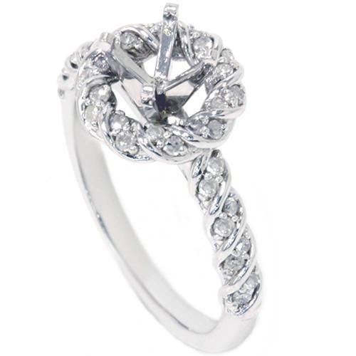 3/8ct Halo Diamond Ring Setting 14K White Gold (G/H, I2)