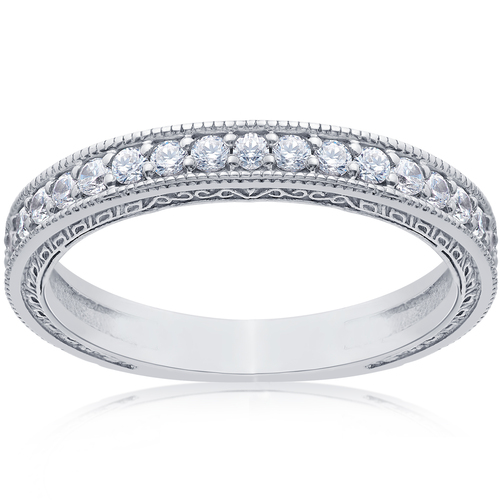 1/2ct Vintage Diamond Wedding Ring 14K White Gold (G/H, I1-I2)