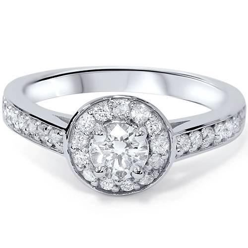 3/4ct Round Diamond Halo Engagement Ring 14K White Gold (G/H, VS)