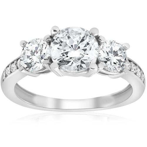 1 5/8 ct Three Stone Diamond Engagement Ring 14k White Gold (H, I1)