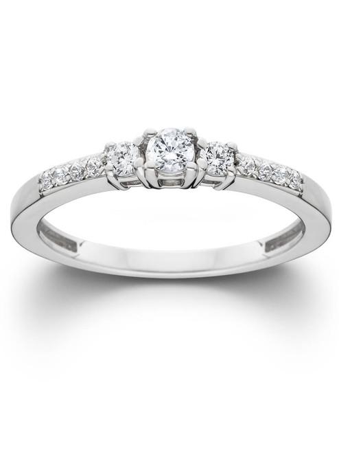 1/2ct Three Stone Round Diamond Engagement Ring 14K White Gold (H, SI2)