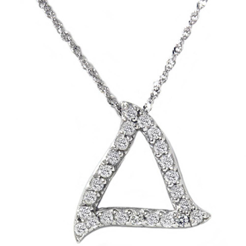 1/4ct Fancy Pave Diamond Curvy 14K White Gold Pendant (G/H, SI3)