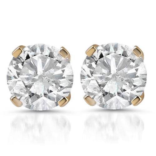 1 1/2ct Diamond Studs 14K Yellow Gold (G/H, I2-I3)