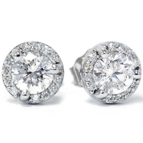 7/8ct Pave Halo Martini Diamond Studs 14K White Gold (G/H, SI)