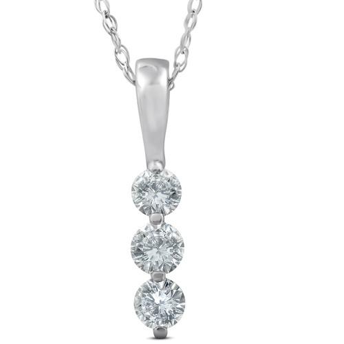 1/4ct 3 Stone Round Three Diamond Pendant 14K White Gold (G-H, SI)