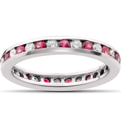 1 1/2ct Ruby & Diamond Eternity Ring 14K White Gold (G/H, I1)