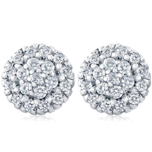 1ct Pave Fire Diamond Studs 14K White Gold (H, I2)