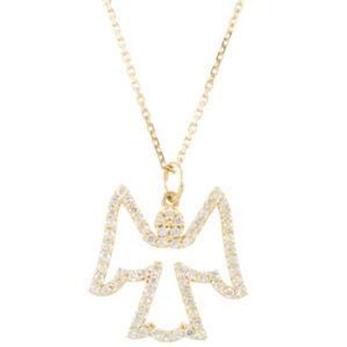 1/4ct Diamond Angel Pendant 14K White Gold (I, I2-I3)