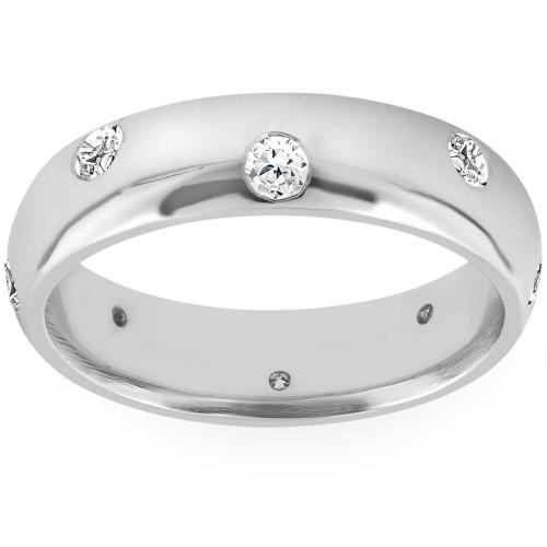 Mens 3/4ct Comfort Fit 14K White Gold Wedding Band Ring High Polished Bezel Set (G/H, SI)