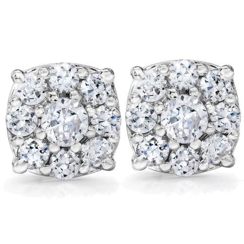 1 Carat Halo Diamond Studs 14K White Gold (H-I, I1-I2)