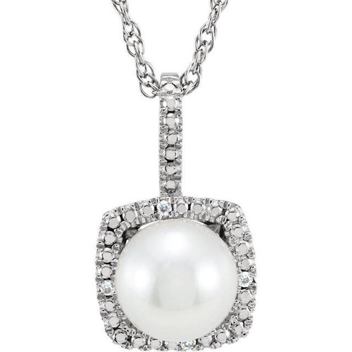 """Sterling Silver 7mm Freshwater Cultured Pearl & .015 CTW Diamond 18"""" Necklace (G, I1)"""