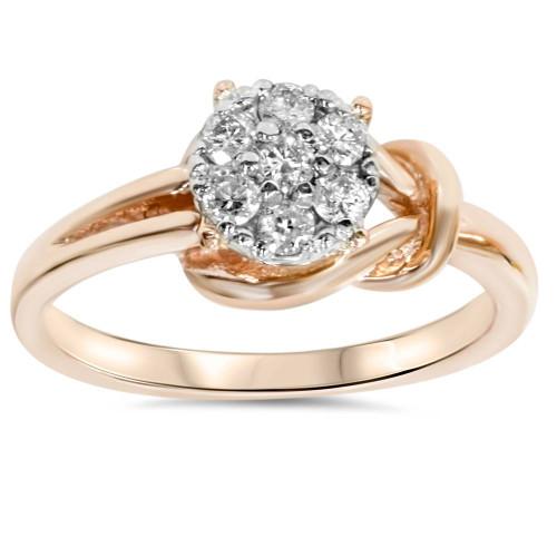 1/4 Ct Diamond Promise Engagement Ring 14K Rose Gold (J/K, I2-I3)