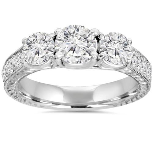 1 3/4ct Vintage Three Stone Round Diamond Engagement Ring 14K White Gold (H, SI2)