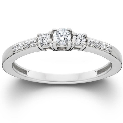 1/2ct Three Stone Round Diamond Engagement Ring 14K White Gold (H, I2-I3)