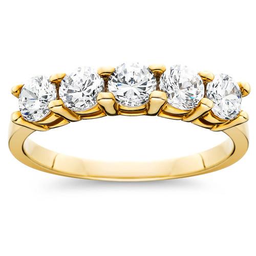 1ct Five Stone Diamond Ring 14K Yellow Gold (G/H, I2-I3)