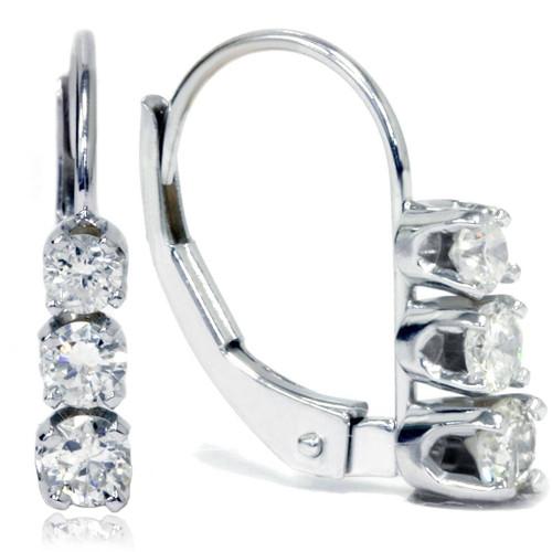 1/2ct 3 Stone Diamond Earrings 14K White Gold (G/H, I2)