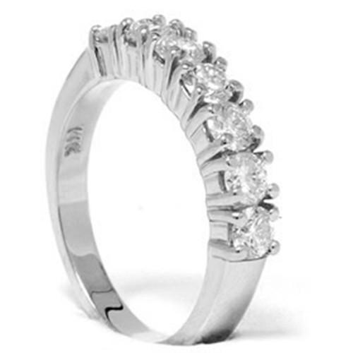 1ct Diamond Wedding Ring Anniversary 14K White Gold (G/H, I1)