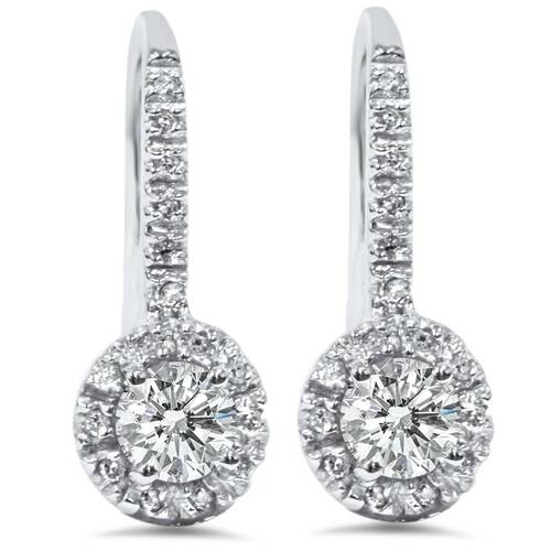 1ct Pave Halo Dangle Earrings 14K White Gold (G/H, I2)