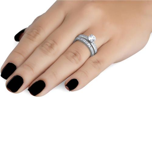 1 Carat Diamond Engagement Ring Matching Wedding Band Prong Set 14K White Gold (G/H, I1)