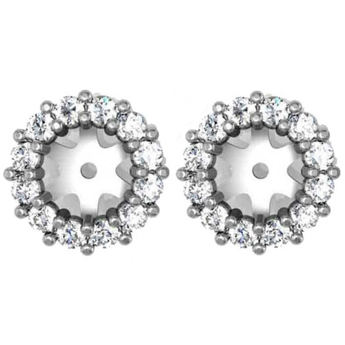 1/2ct Halo Diamond Earring Jackets 14K White Gold (5-5.5mm) (G-H, SI2)