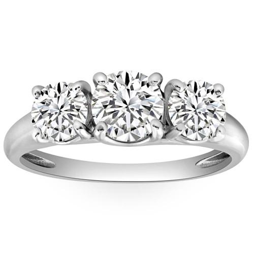1 3/4ct Three Stone Diamond Ring 14K White Gold (H-I, I1)
