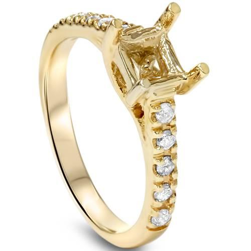 Diamond Semi Mount Engagement Setting Mounting Gold Ring (G/H, I2)
