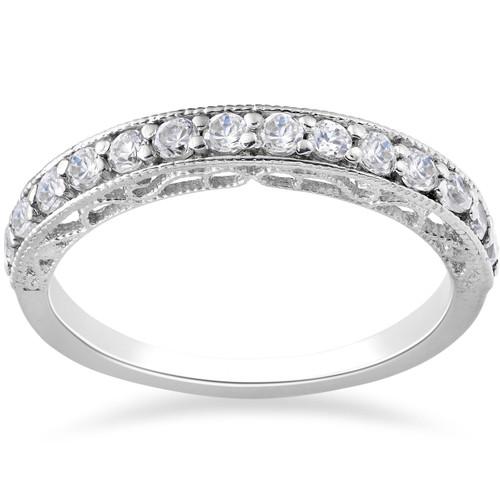 1/2ct Vintage Diamond Wedding Ring 14K White Gold (G/H, I1)