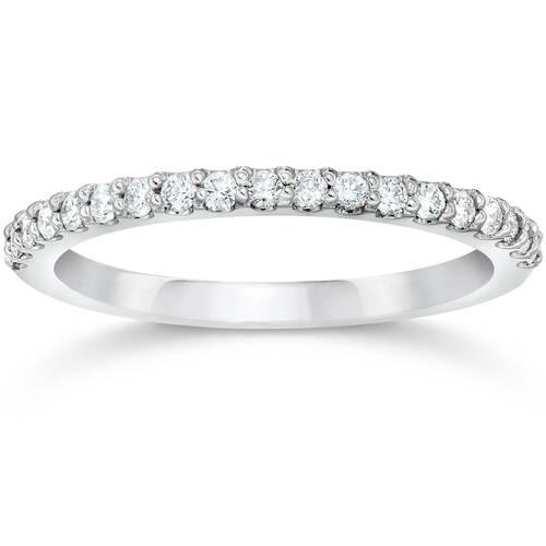 1/8ct 14k White Gold Diamond Engagement Band Wedding Stackable Prong Womens Ring (H, I1-I2)