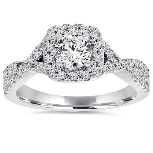 1ct Cushion Halo Diamond Engagement Ring 14K White Gold (G/H, I1-I2)