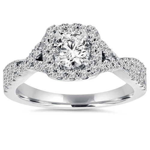 1ct Cushion Halo Diamond Engagement Ring 14K White Gold (G/H, I1-I2)