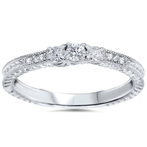 1/4ct Vintage Three Stone Round Diamond Engagement Ring 14K White Gold (H, I1)