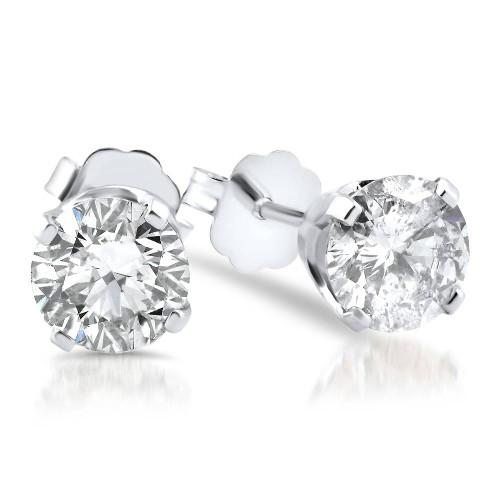 5/8ct Diamond Studs 14K White Gold Push Back (G/H, I2-I3)