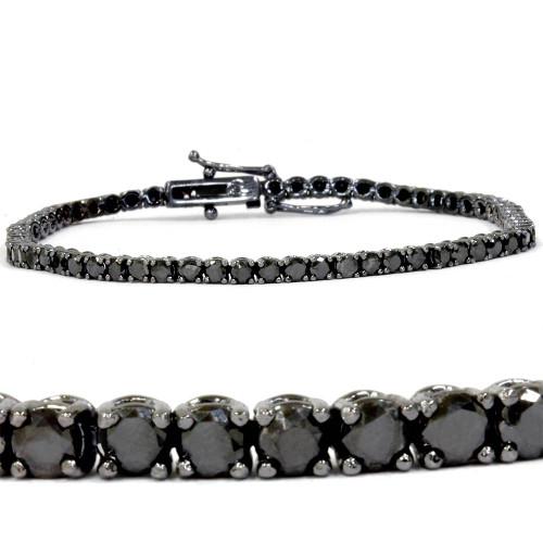 "3ct Black Diamond Tennis Bracelet 14K Black Gold 7"" (Black, )"