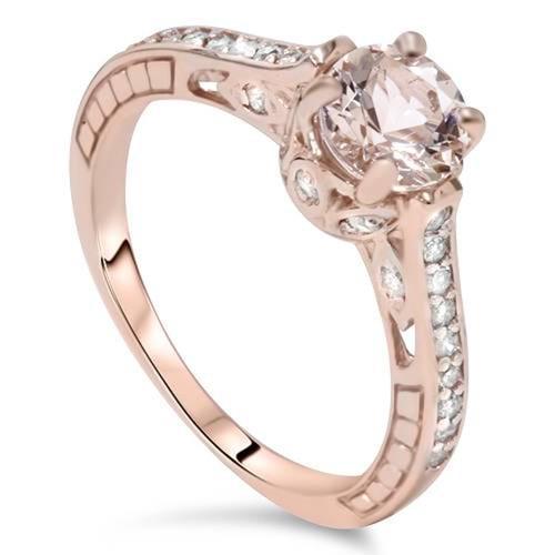 1ct Morganite & Diamond Vintage Engagement Ring 14K Rose Gold (J/K, I1-I2)