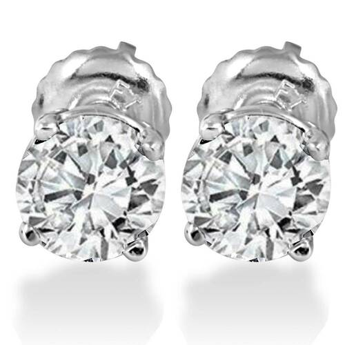 1.25CT Diamond Studs Screw Back 14K White Gold (D, VS1-VS2)