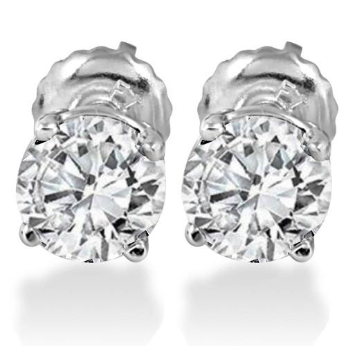 1.25CT Lab Grown Diamond Studs Screw Back 14K White Gold (D, VS1-VS2)
