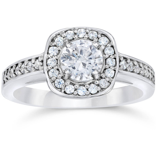 1ct Cushion Halo Diamond Engagement Ring 14K White Gold (G/H, SI2-I1)
