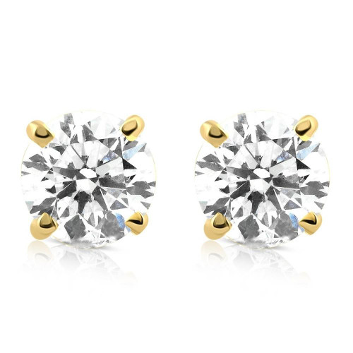 1 1/4ct Diamond Studs 14K Yellow Gold (G/H, I2-I3)