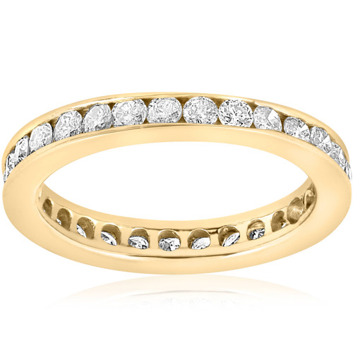 1ct Diamond Wedding Eternity Stackable 14K Yellow Gold Ring Channel Set (G/H, SI2-I1)