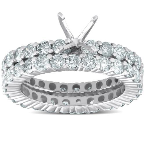 3ct Diamond Eternity Wedding Engagement Matching Ring Setting 14k White Gold (G/H, I1)