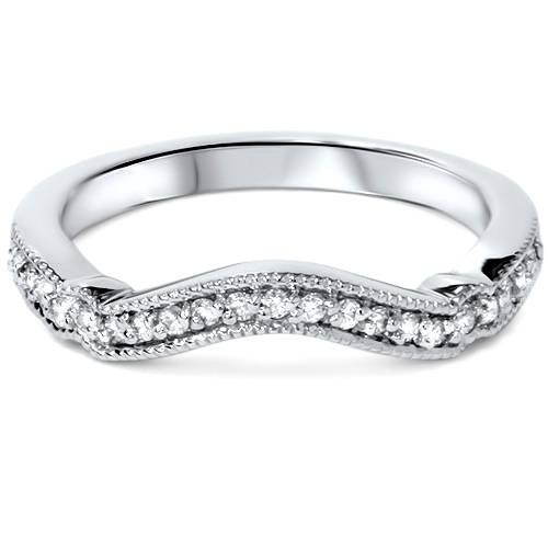 1/6ct Curved Diamond Wedding Ring 14k White Gold (G/H, SI1-SI2)