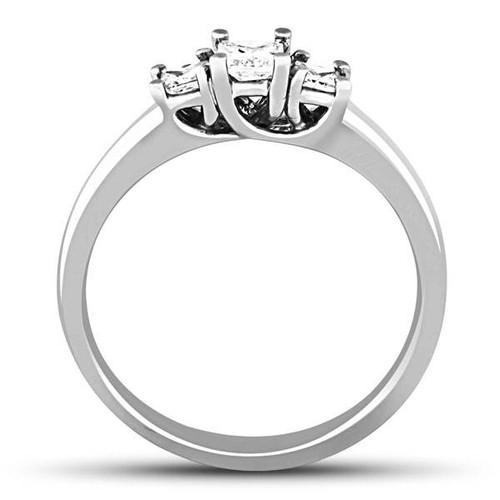 1/2ct Three Stone Princess Cut Diamond Ring 14K White Gold (H/I, I1)