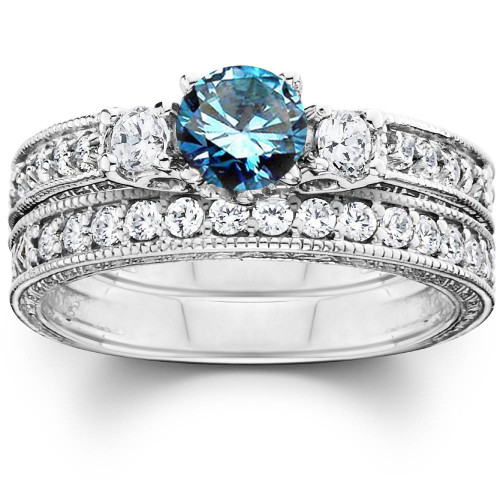 1 1/4ct Blue Diamond Three Stone Ring Set 14K White Gold (G/H, I1-I2)