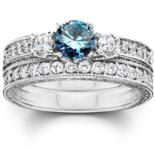 1 1/4ct Blue Diamond Three Stone Ring Set 14K White Gold (G/H, I1-I2)