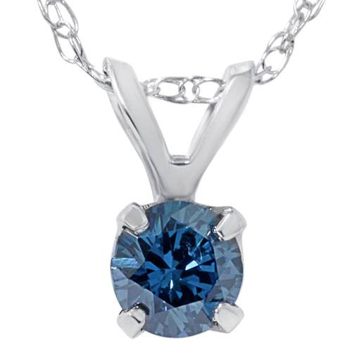 1/2ct Blue Diamond Solitaire Pendant 14K White Gold (Blue, I1)