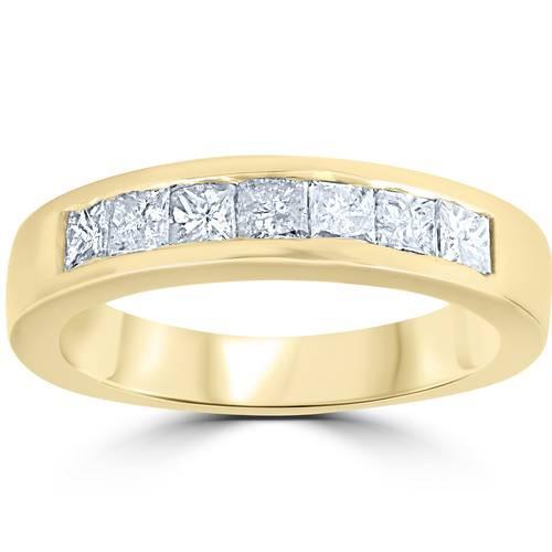 1ct Princess Cut Diamond Wedding Anniversary Ring 14k Yellow Gold (G/H, SI)